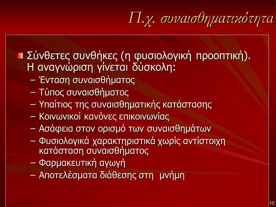 Π.χ. συναισθηματικότητα Σύνθετες συνθήκες (η φυσιολογική προοπτική).