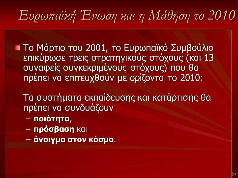 24 Ευρωπαϊκή Ένωση και η Μάθηση το 2010 Το Μάρτιο του 2001, το Ευρωπαϊκό Συμβούλιο επικύρωσε τρεις στρατηγικούς στόχους (και 13 συναφείς συγκεκριμένου