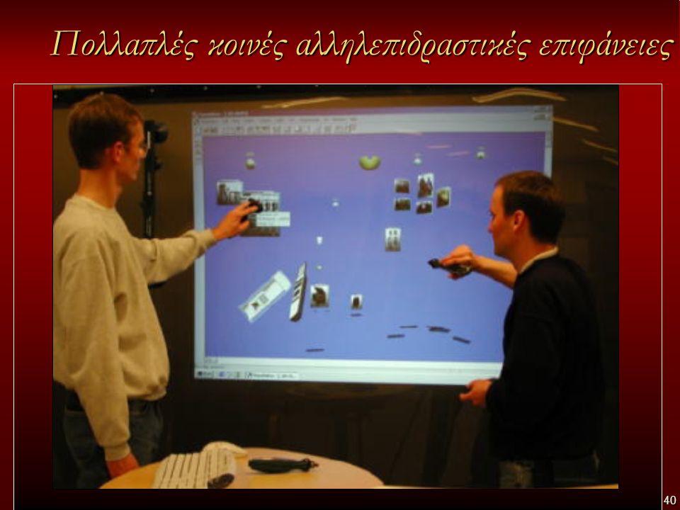 40 Πολλαπλές κοινές αλληλεπιδραστικές επιφάνειες Κάθε αίθουσα θα παρέχει: –Πολλαπλές κοινές αλληλεπιδραστικές επιφάνειες (interactive walls / interactive tables/ digital whiteboards) όπου συνήθως δουλεύουν ομάδες ατόμων (με εστίαση στη συνεργατική μάθηση)