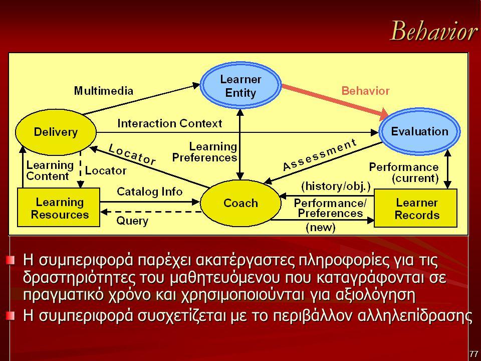 Behavior Η συμπεριφορά παρέχει ακατέργαστες πληροφορίες για τις δραστηριότητες του μαθητευόμενου που καταγράφονται σε πραγματικό χρόνο και χρησιμοποιούνται για αξιολόγηση Η συμπεριφορά συσχετίζεται με το περιβάλλον αλληλεπίδρασης 77