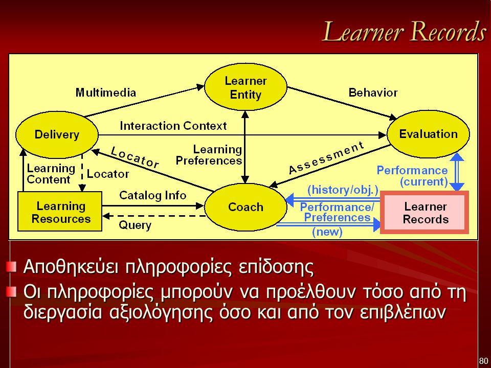 Learner Records Αποθηκεύει πληροφορίες επίδοσης Οι πληροφορίες μπορούν να προέλθουν τόσο από τη διεργασία αξιολόγησης όσο και από τον επιβλέπων 80