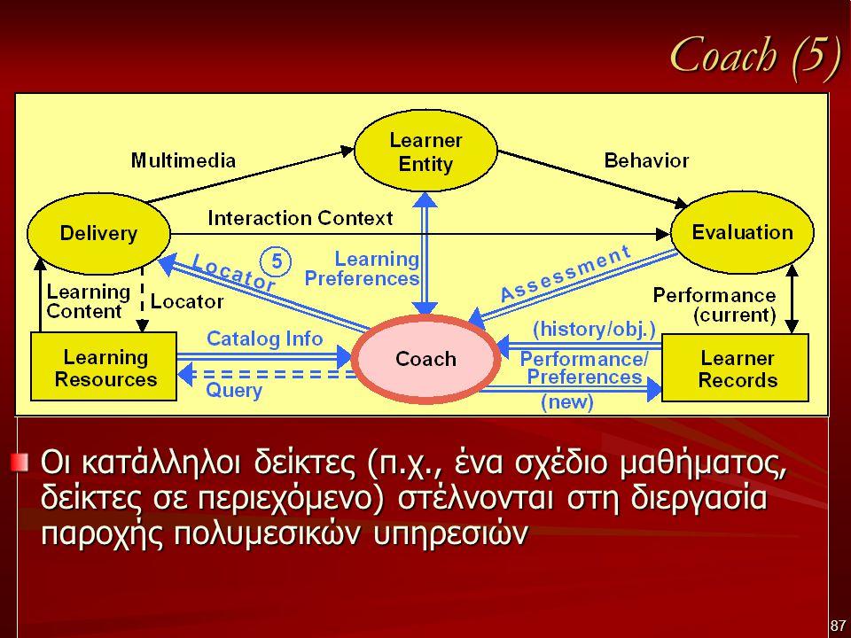 Coach (5) Οι κατάλληλοι δείκτες (π.χ., ένα σχέδιο μαθήματος, δείκτες σε περιεχόμενο) στέλνονται στη διεργασία παροχής πολυμεσικών υπηρεσιών 87