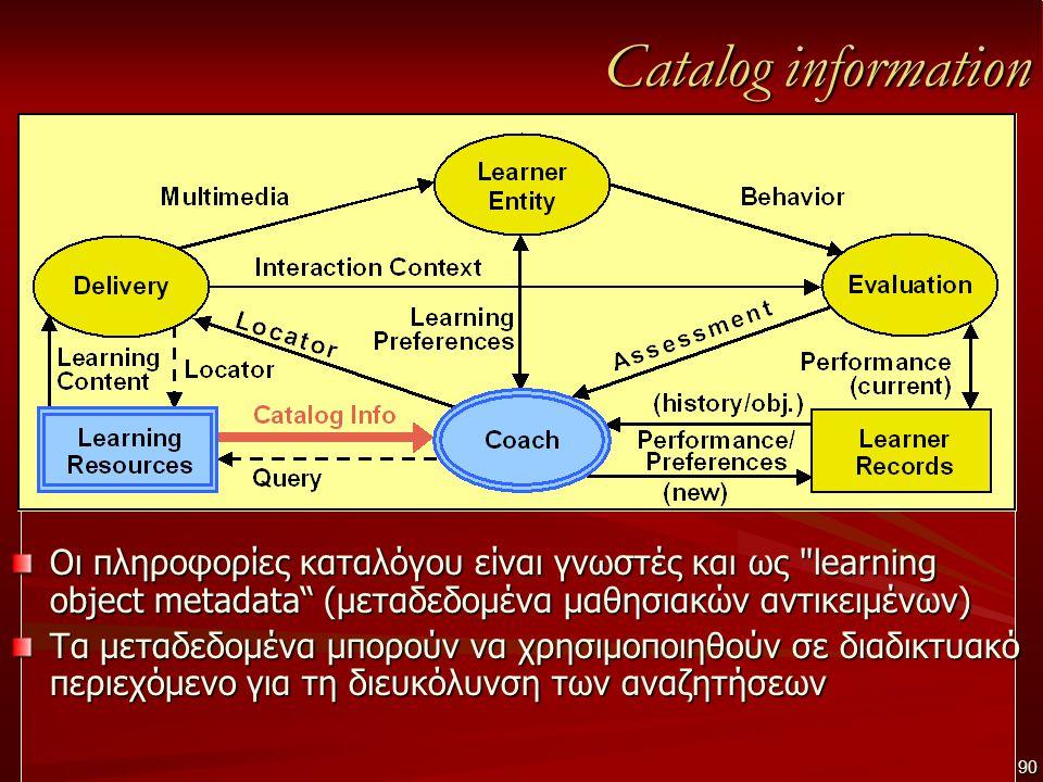 Catalog information Οι πληροφορίες καταλόγου είναι γνωστές και ως learning object metadata (μεταδεδομένα μαθησιακών αντικειμένων) Τα μεταδεδομένα μπορούν να χρησιμοποιηθούν σε διαδικτυακό περιεχόμενο για τη διευκόλυνση των αναζητήσεων 90