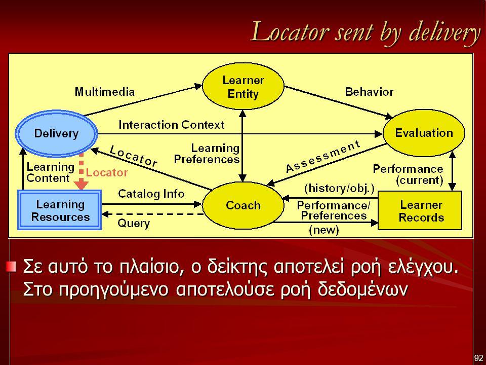 Locator sent by delivery Σε αυτό το πλαίσιο, ο δείκτης αποτελεί ροή ελέγχου.