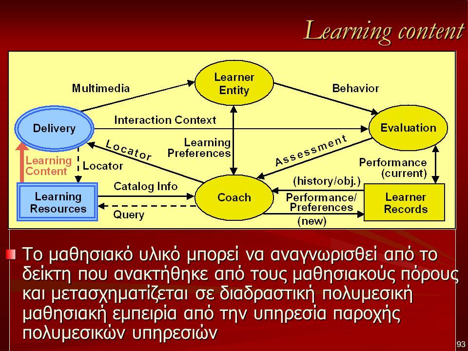 Learning content Το μαθησιακό υλικό μπορεί να αναγνωρισθεί από το δείκτη που ανακτήθηκε από τους μαθησιακούς πόρους και μετασχηματίζεται σε διαδραστική πολυμεσική μαθησιακή εμπειρία από την υπηρεσία παροχής πολυμεσικών υπηρεσιών 93