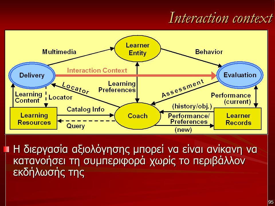 Interaction context Η διεργασία αξιολόγησης μπορεί να είναι ανίκανη να κατανοήσει τη συμπεριφορά χωρίς το περιβάλλον εκδήλωσής της 95