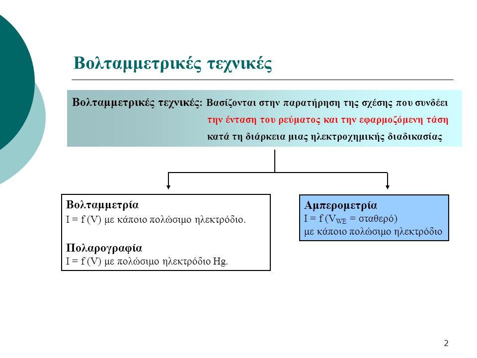 2 Βολταμμετρικές τεχνικές Βολταμμετρία I = f (V) με κάποιο πολώσιμο ηλεκτρόδιο. Πολαρογραφία I = f (V) με πολώσιμο ηλεκτρόδιο Ηg. Αμπερομετρία I = f (