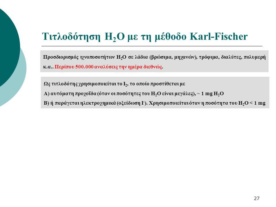 27 Τιτλοδότηση Η 2 Ο με τη μέθοδο Karl-Fischer Προσδιορισμός ιχνοποσοτήτων Η 2 Ο σε λάδια (βρώσιμα, μηχανών), τρόφιμα, διαλύτες, πολυμερή κ.α.. Περίπο
