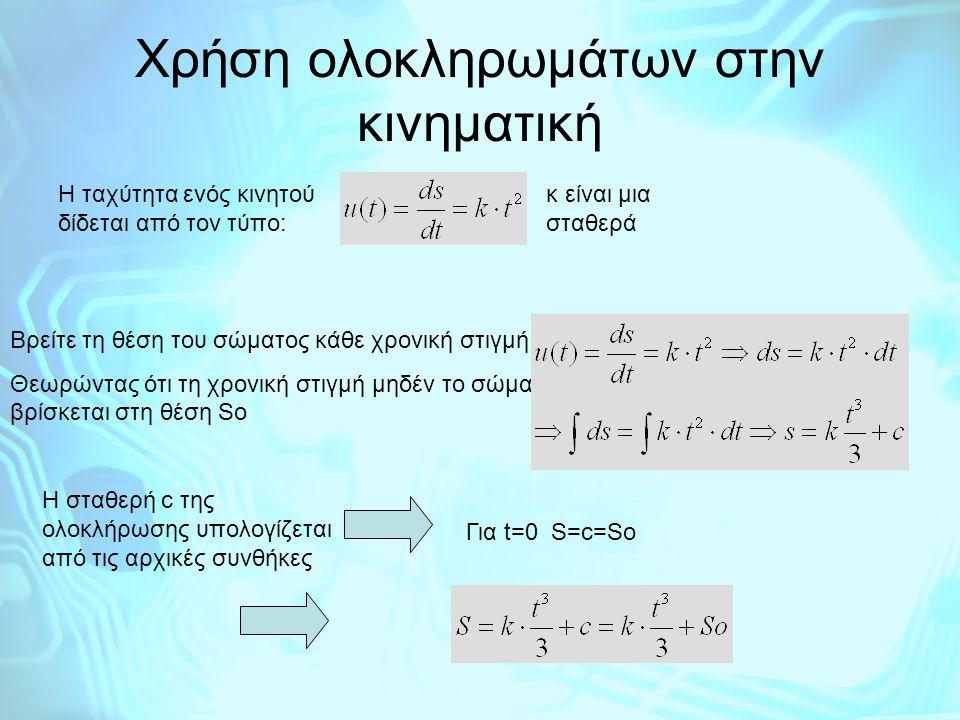 Κίνηση στο χώρο χ y z r(t) r(t)+Δt u(t) H ταχύτητα είναι σε κάθε χρονική στιγμή εφαπτόμενη της τροχιάς