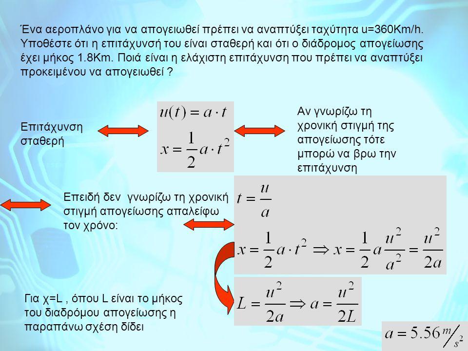 Κίνηση σε δύο διαστάσεις Για κάθε σώμα που εκτελεί κίνηση στο χώρο ή στο επίπεδο η κινήσή του σε κάθε κατεύθυνση είναι ανεξάρτητη από την κινησή του στις άλλες κατευθύνσεις και καθορίζεται μόνο από τις δυνάμεις που ασκούνται επάνω του σε κάθε κατεύθυνση Παράδειγμα δισδιάτατης κίνησης όπου το σώμα εκτελει διαφορετικό είδος κίνησης σε κάθε κατεύθυνση είναι η ΒΟΛΗ