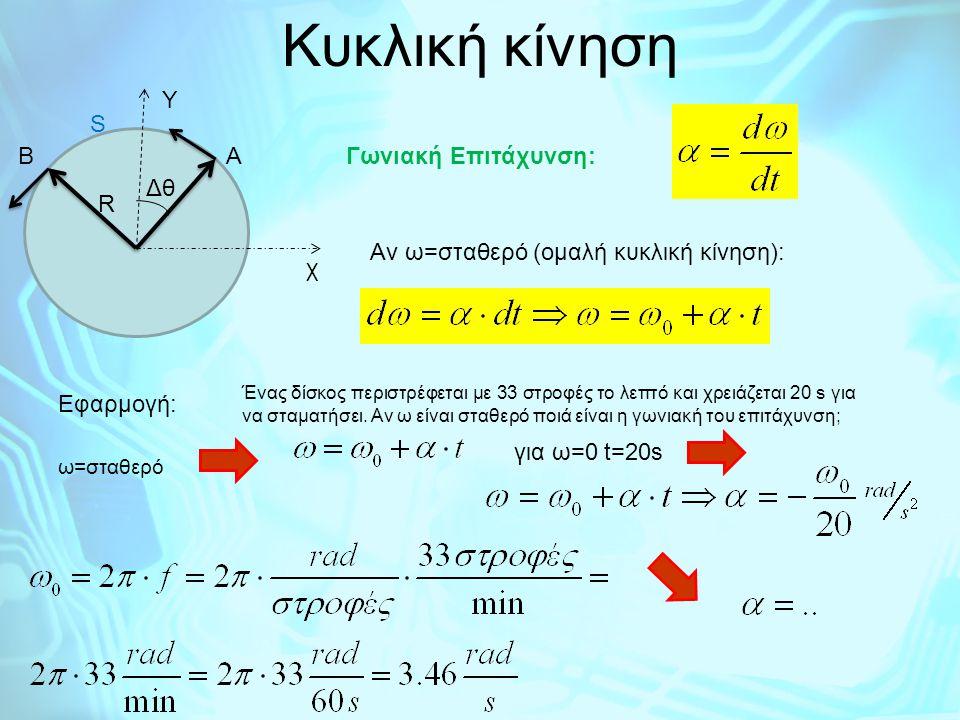 Ομαλή κυκλική κίνηση ΒΑ R Δθ χ Υ ΔSΔS Επιτρόχιος ταχύτητα: Αλλά καθώς ο χρόνος τείνει στο μηδέν το μήκος του διανύσματος ΔR συμπίπτει με το μήκος του τόξου ΔS που ενώνει το αρχικό με το τελικό σημείο Η επιτρόχιος ταχύτητα είναι εφαπτομενική της τροχιάς και το μέτρο της είναι σταθερό: Επιτρόχιος επιτάχυνση: