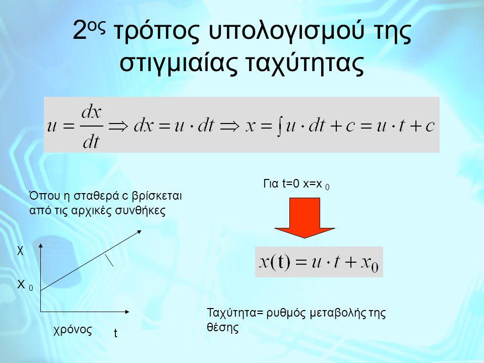 Σώμα κινείται κατά τον άξονα χ σύμφωνα με την εξίσωση: Υπολογίστε τη μέση ταχυτητα κατά τη διάρκεια των 3 πρώτων δευτερολέπτων Τη στιγμιαία ταχύτητα τη χρονική στιγμή t=3s και την στιγμιαία επιτάχυνση για t=3s Μέση ταχύτητα: