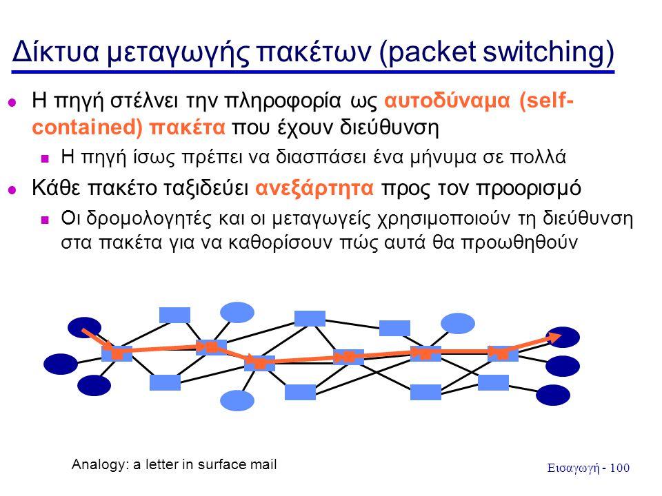 Εισαγωγή - 100 Δίκτυα μεταγωγής πακέτων (packet switching) Η πηγή στέλνει την πληροφορία ως αυτοδύναμα (self- contained) πακέτα που έχουν διεύθυνση Η πηγή ίσως πρέπει να διασπάσει ένα μήνυμα σε πολλά Κάθε πακέτο ταξιδεύει ανεξάρτητα προς τον προορισμό Οι δρομολογητές και οι μεταγωγείς χρησιμοποιούν τη διεύθυνση στα πακέτα για να καθορίσουν πώς αυτά θα προωθηθούν Analogy: a letter in surface mail