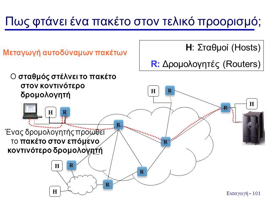 Εισαγωγή - 101 Πως φτάνει ένα πακέτο στον τελικό προορισμό; Ο σταθμός στέλνει το πακέτο στον κοντινότερο δρομολογητή H R R R R R R R R R R R R R R R R H H H H H: Σταθμοί (Hosts) R: Δρομολογητές (Routers) Ένας δρομολογητής προωθεί το πακέτο στον επόμενο κοντινότερο δρομολογητή Μεταγωγή αυτοδύναμων πακέτων