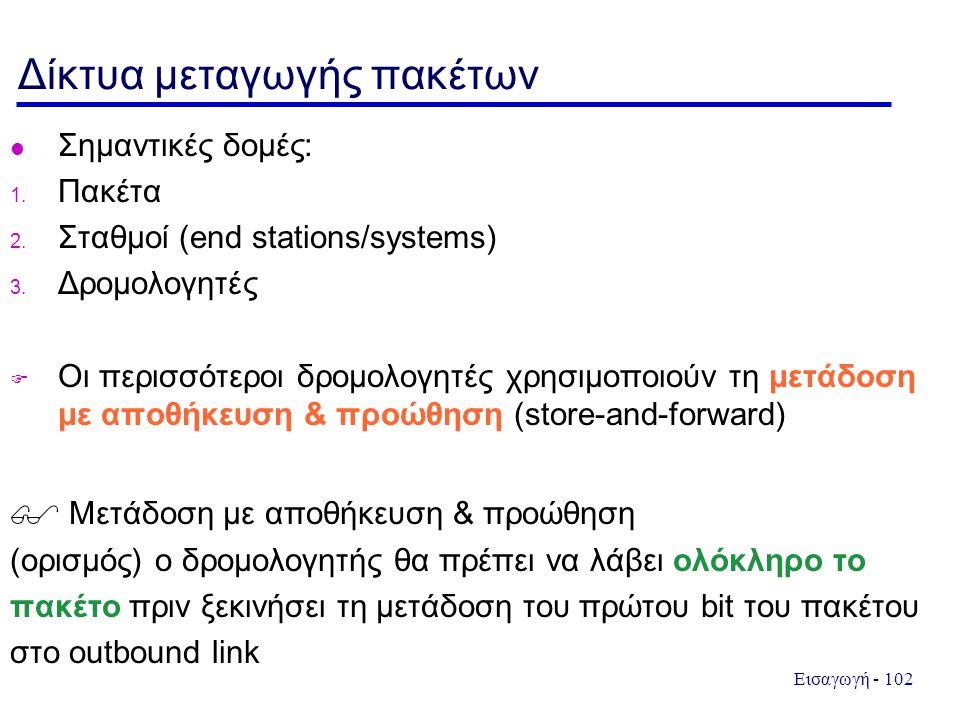 Εισαγωγή - 102 Δίκτυα μεταγωγής πακέτων l Σημαντικές δομές: 1. Πακέτα 2. Σταθμοί (end stations/systems) 3. Δρομολογητές  Οι περισσότεροι δρομολογητές