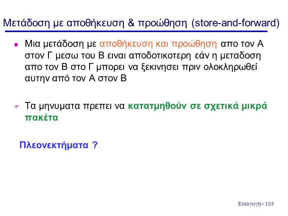 Εισαγωγή - 103 Μετάδοση με αποθήκευση & προώθηση (store-and-forward) l Μια μετάδοση με αποθήκευση και προώθηση απο τον Α στον Γ μεσω του Β ειναι αποδο