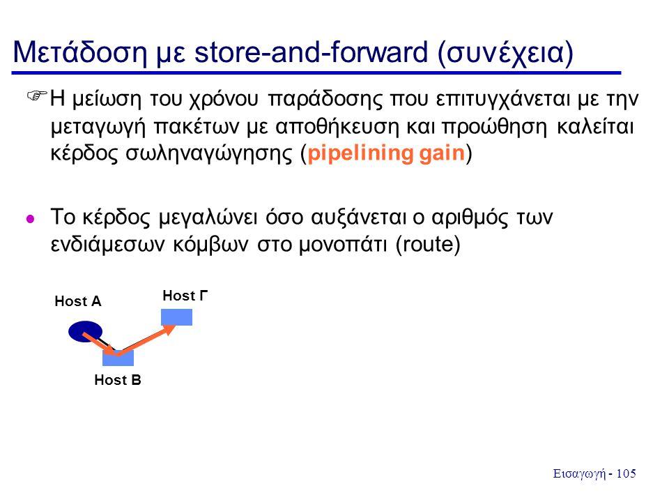 Εισαγωγή - 105 Μετάδοση με store-and-forward (συνέχεια)  Η μείωση του χρόνου παράδοσης που επιτυγχάνεται με την μεταγωγή πακέτων με αποθήκευση και προώθηση καλείται κέρδος σωληναγώγησης (pipelining gain) l Το κέρδος μεγαλώνει όσο αυξάνεται ο αριθμός των ενδιάμεσων κόμβων στο μονοπάτι (route) Host A Host B Host Γ