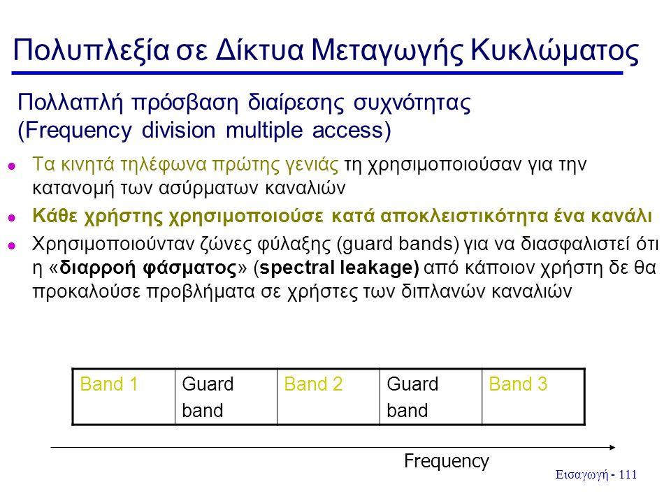 Εισαγωγή - 111 Πολλαπλή πρόσβαση διαίρεσης συχνότητας (Frequency division multiple access) Τα κινητά τηλέφωνα πρώτης γενιάς τη χρησιμοποιούσαν για την κατανομή των ασύρματων καναλιών Κάθε χρήστης χρησιμοποιούσε κατά αποκλειστικότητα ένα κανάλι Χρησιμοποιούνταν ζώνες φύλαξης (guard bands) για να διασφαλιστεί ότι η «διαρροή φάσματος» (spectral leakage) από κάποιον χρήστη δε θα προκαλούσε προβλήματα σε χρήστες των διπλανών καναλιών Band 1Guard band Band 2Guard band Band 3 Frequency Πολυπλεξία σε Δίκτυα Μεταγωγής Κυκλώματος