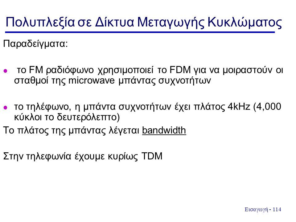 Εισαγωγή - 114 Παραδείγματα: το FM ραδιόφωνο χρησιμοποιεί το FDM για να μοιραστούν οι σταθμοί της microwave μπάντας συχνοτήτων το τηλέφωνο, η μπάντα συχνοτήτων έχει πλάτος 4kHz (4,000 κύκλοι το δευτερόλεπτο) Το πλάτος της μπάντας λέγεται bandwidth Στην τηλεφωνία έχουμε κυρίως TDM Πολυπλεξία σε Δίκτυα Μεταγωγής Κυκλώματος