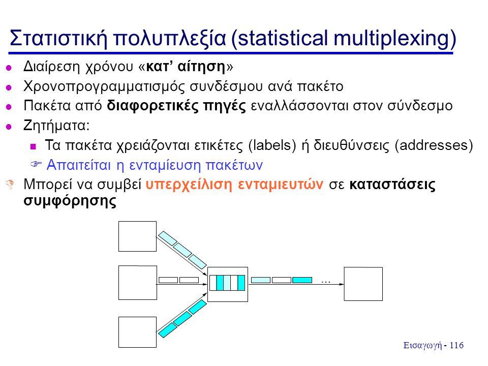 Εισαγωγή - 116 Στατιστική πολυπλεξία (statistical multiplexing) Διαίρεση χρόνου «κατ' αίτηση» Χρονοπρογραμματισμός συνδέσμου ανά πακέτο Πακέτα από διαφορετικές πηγές εναλλάσσονται στον σύνδεσμο Ζητήματα: Τα πακέτα χρειάζονται ετικέτες (labels) ή διευθύνσεις (addresses)  Απαιτείται η ενταμίευση πακέτων  Μπορεί να συμβεί υπερχείλιση ενταμιευτών σε καταστάσεις συμφόρησης …