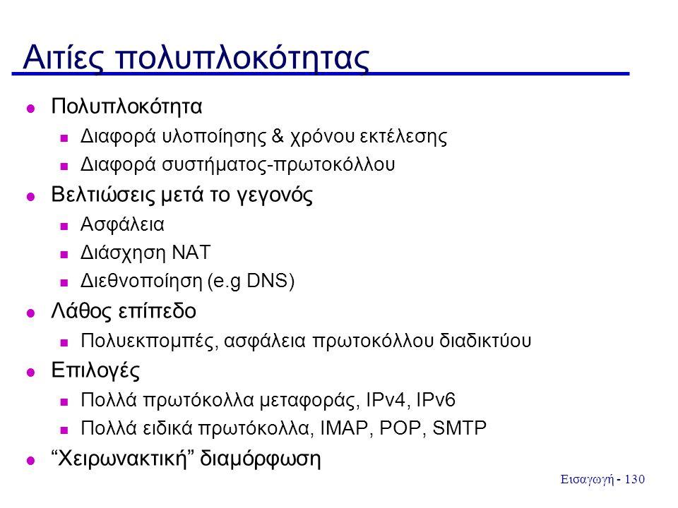 Εισαγωγή - 130 Αιτίες πολυπλοκότητας Πολυπλοκότητα Διαφορά υλοποίησης & χρόνου εκτέλεσης Διαφορά συστήματος-πρωτοκόλλου Βελτιώσεις μετά το γεγονός Ασφάλεια Διάσχηση ΝΑΤ Διεθνοποίηση (e.g DNS) Λάθος επίπεδο Πολυεκπομπές, ασφάλεια πρωτοκόλλου διαδικτύου Επιλογές Πολλά πρωτόκολλα μεταφοράς, IPv4, IPv6 Πολλά ειδικά πρωτόκολλα, IMAP, POP, SMTP Χειρωνακτική διαμόρφωση