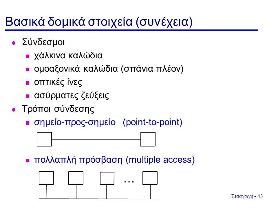 Εισαγωγή - 43 Βασικά δομικά στοιχεία (συνέχεια) Σύνδεσμοι χάλκινα καλώδια ομοαξονικά καλώδια (σπάνια πλέον) οπτικές ίνες ασύρματες ζεύξεις Τρόποι σύνδεσης σημείο-προς-σημείο (point-to-point) πολλαπλή πρόσβαση (multiple access) …