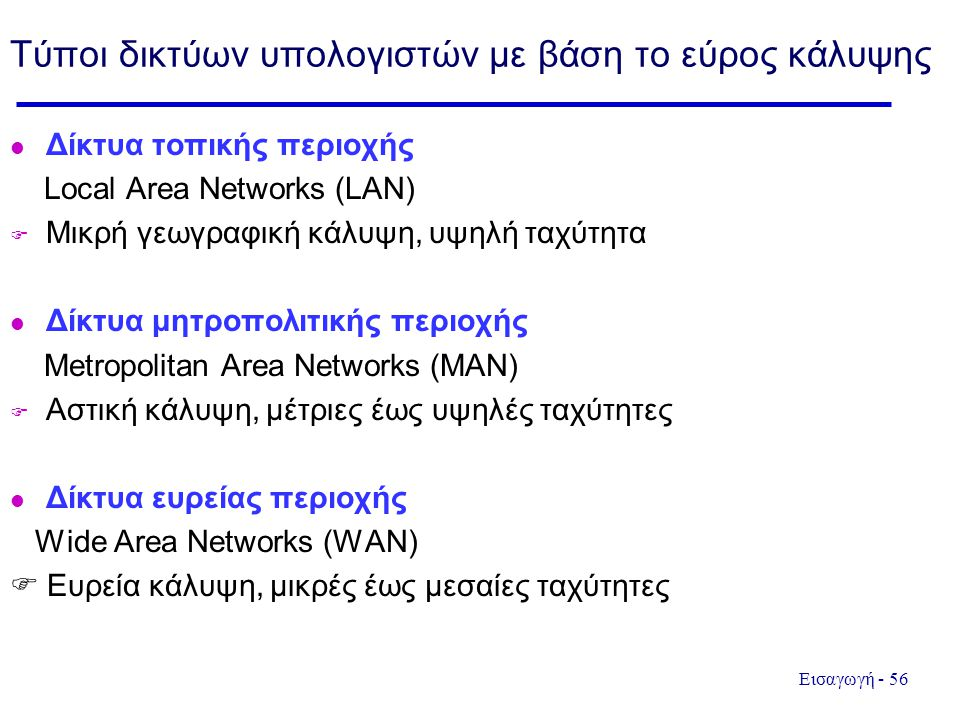 Εισαγωγή - 56 Τύποι δικτύων υπολογιστών με βάση το εύρος κάλυψης Δίκτυα τοπικής περιοχής Local Area Networks (LAN)  Μικρή γεωγραφική κάλυψη, υψηλή ταχύτητα Δίκτυα μητροπολιτικής περιοχής Metropolitan Area Networks (MAN)  Αστική κάλυψη, μέτριες έως υψηλές ταχύτητες Δίκτυα ευρείας περιοχής Wide Area Networks (WAN)  Ευρεία κάλυψη, μικρές έως μεσαίες ταχύτητες
