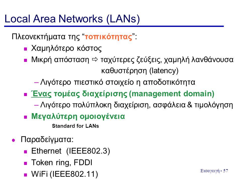 Εισαγωγή - 57 Local Area Networks (LANs) Πλεονεκτήματα της τοπικότητας : Χαμηλότερο κόστος Μικρή απόσταση  ταχύτερες ζεύξεις, χαμηλή λανθάνουσα καθυστέρηση (latency) –Λιγότερο πιεστικό στοιχείο η αποδοτικότητα Ένας τομέας διαχείρισης (management domain) –Λιγότερο πολύπλοκη διαχείριση, ασφάλεια & τιμολόγηση Μεγαλύτερη ομοιογένεια Παραδείγματα: Ethernet (IEEE802.3) Token ring, FDDI WiFi (IEEE802.11) Standard for LANs