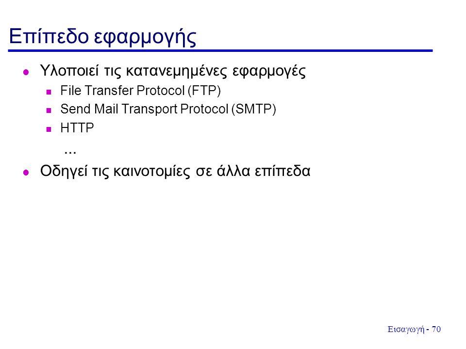 Εισαγωγή - 70 Επίπεδο εφαρμογής Υλοποιεί τις κατανεμημένες εφαρμογές File Transfer Protocol (FTP) Send Mail Transport Protocol (SMTP) HTTP... Οδηγεί τ