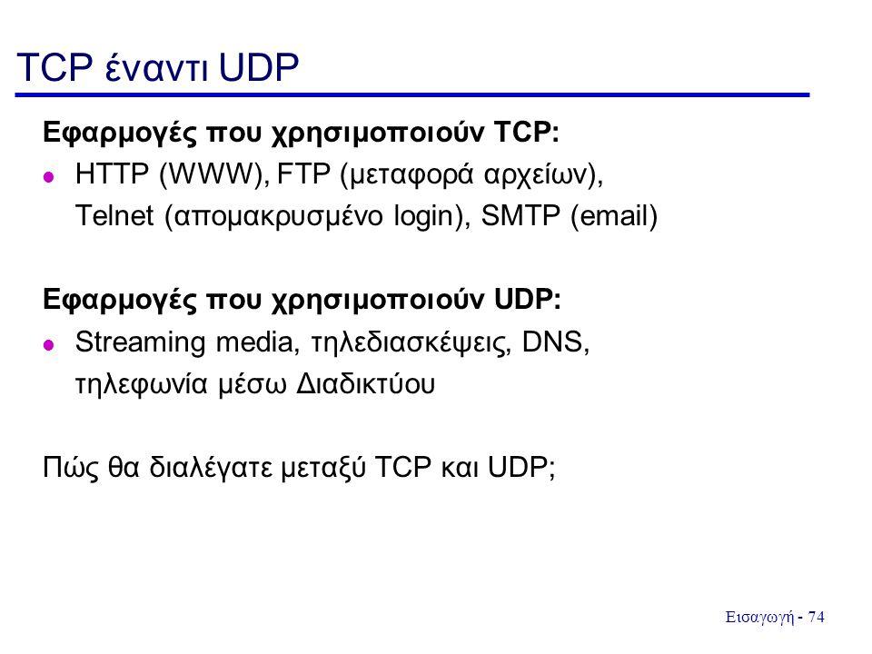 Εισαγωγή - 74 TCP έναντι UDP Εφαρμογές που χρησιμοποιούν TCP: HTTP (WWW), FTP (μεταφορά αρχείων), Telnet (απομακρυσμένο login), SMTP (email) Εφαρμογές που χρησιμοποιούν UDP: Streaming media, τηλεδιασκέψεις, DNS, τηλεφωνία μέσω Διαδικτύου Πώς θα διαλέγατε μεταξύ TCP και UDP;