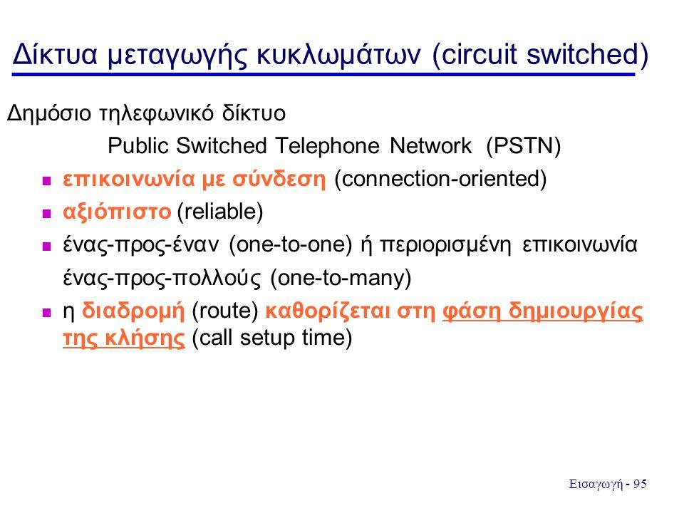 Εισαγωγή - 95 Δίκτυα μεταγωγής κυκλωμάτων (circuit switched) Δημόσιο τηλεφωνικό δίκτυο Public Switched Telephone Network (PSTN) επικοινωνία με σύνδεση (connection-oriented) αξιόπιστο (reliable) ένας-προς-έναν (one-to-one) ή περιορισμένη επικοινωνία ένας-προς-πολλούς (one-to-many) η διαδρομή (route) καθορίζεται στη φάση δημιουργίας της κλήσης (call setup time)