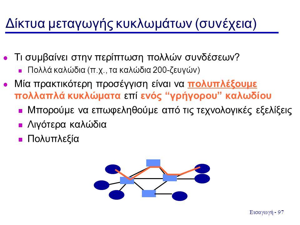 Εισαγωγή - 97 Δίκτυα μεταγωγής κυκλωμάτων (συνέχεια) Τι συμβαίνει στην περίπτωση πολλών συνδέσεων? Πολλά καλώδια (π.χ., τα καλώδια 200-ζευγών) Μία πρα