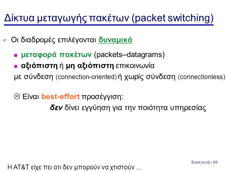 Εισαγωγή - 99 Δίκτυα μεταγωγής πακέτων (packet switching)  Οι διαδρομές επιλέγονται δυναμικά μεταφορά πακέτων (packets–datagrams) αξιόπιστη ή μη αξιόπιστη επικοινωνία με σύνδεση (connection-oriented) ή χωρίς σύνδεση (connectionless)  Είναι best-effort προσέγγιση: δεν δίνει εγγύηση για την ποιότητα υπηρεσίας H AT&T είχε πει οτι δεν μπορούν να χτιστούν...