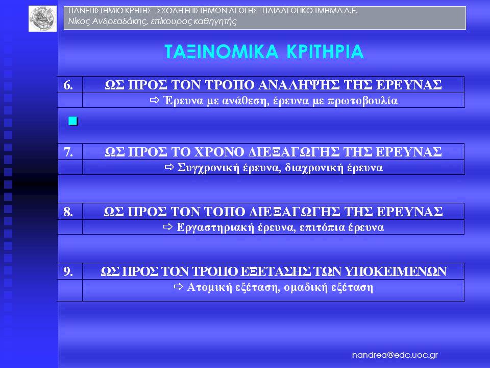 ΤΑΞΙΝΟΜΙΚΑ ΚΡΙΤΗΡΙΑ ΠΑΝΕΠΙΣΤΗΜΙΟ ΚΡΗΤΗΣ - ΣΧΟΛΗ ΕΠΙΣΤΗΜΩΝ ΑΓΩΓΗΣ - ΠΑΙΔΑΓΩΓΙΚΟ ΤΜΗΜΑ Δ.Ε. Νίκος Ανδρεαδάκης, επίκουρος καθηγητής nandrea@edc.uoc.gr