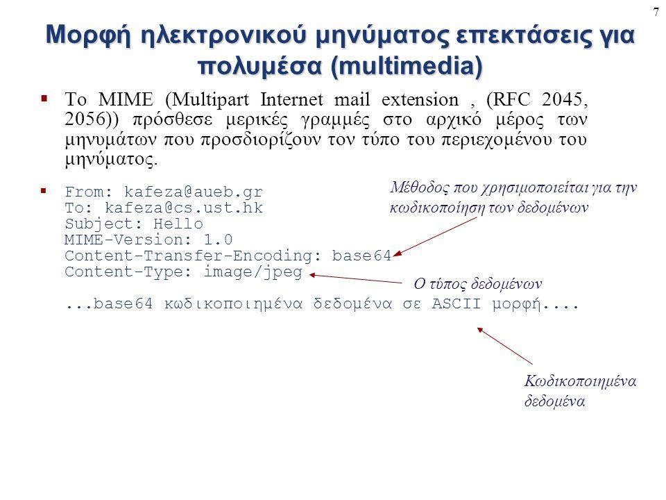 7 Μορφή ηλεκτρονικού μηνύματος επεκτάσεις για πολυμέσα (multimedia)  Το MIME (Multipart Internet mail extension, (RFC 2045, 2056)) πρόσθεσε μερικές γ