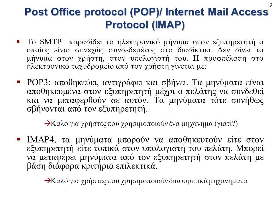 9  To SMTP παραδίδει το ηλεκτρονικό μήνυμα στον εξυπηρετητή ο οποίος είναι συνεχώς συνδεδεμένος στο διαδίκτυο. Δεν δίνει το μήνυμα στον χρήστη, στον
