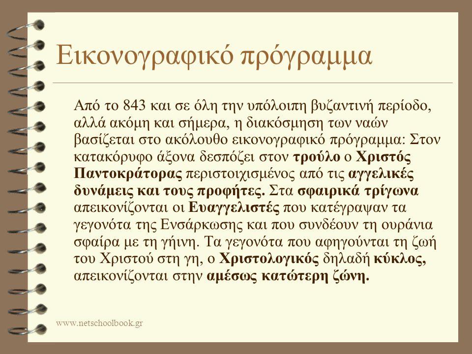 www.netschoolbook.gr Εικονογραφικό πρόγραμμα Από το 843 και σε όλη την υπόλοιπη βυζαντινή περίοδο, αλλά ακόμη και σήμερα, η διακόσμηση των ναών βασίζεται στο ακόλουθο εικονογραφικό πρόγραμμα: Στον κατακόρυφο άξονα δεσπόζει στον τρούλο ο Χριστός Παντοκράτορας περιστοιχισμένος από τις αγγελικές δυνάμεις και τους προφήτες.