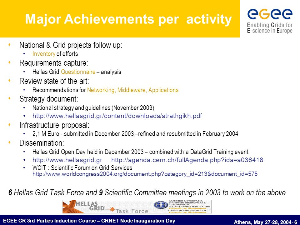 EGEE GR 3rd Parties Induction Course – GRNET Node Inauguration Day Athens, May 27-28, 2004- 6 Major Achievements per activity National & Grid projects