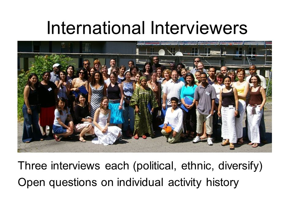 International Interviewers Three interviews each (political, ethnic, diversify) Open questions on individual activity history