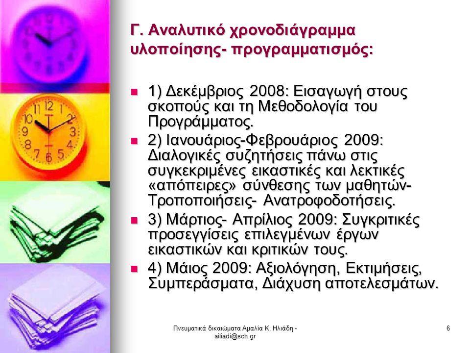 Πνευματικά δικαιώματα Αμαλία Κ. Ηλιάδη - ailiadi@sch.gr 6 Γ. Αναλυτικό χρονοδιάγραμμα υλοποίησης- προγραμματισμός: 1) Δεκέμβριος 2008: Εισαγωγή στους