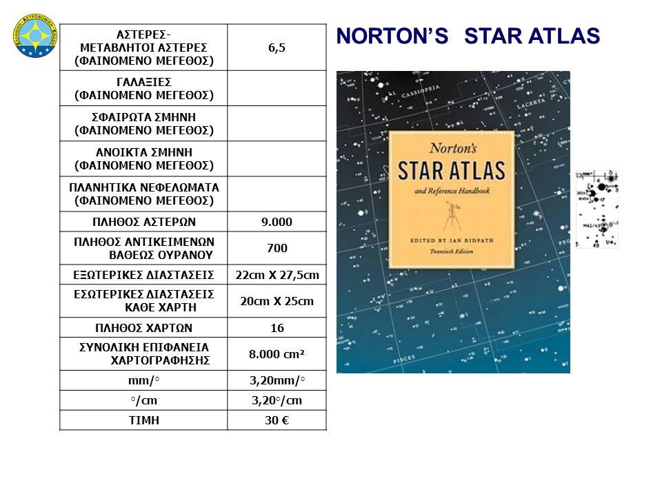 NORTON'S STAR ATLAS ΑΣΤΕΡΕΣ- ΜΕΤΑΒΛΗΤΟΙ ΑΣΤΕΡΕΣ (ΦΑΙΝΟΜΕΝΟ ΜΕΓΕΘΟΣ) 6,5 ΓΑΛΑΞΙΕΣ (ΦΑΙΝΟΜΕΝΟ ΜΕΓΕΘΟΣ) ΣΦΑΙΡΩΤΑ ΣΜΗΝΗ (ΦΑΙΝΟΜΕΝΟ ΜΕΓΕΘΟΣ) ΑΝΟΙΚΤΑ ΣΜΗΝΗ (ΦΑΙΝΟΜΕΝΟ ΜΕΓΕΘΟΣ) ΠΛΑΝΗΤΙΚΑ ΝΕΦΕΛΩΜΑΤΑ (ΦΑΙΝΟΜΕΝΟ ΜΕΓΕΘΟΣ) ΠΛΗΘΟΣ ΑΣΤΕΡΩΝ9.000 ΠΛΗΘΟΣ ΑΝΤΙΚΕΙΜΕΝΩΝ ΒΑΘΕΩΣ ΟΥΡΑΝΟΥ 700 ΕΞΩΤΕΡΙΚΕΣ ΔΙΑΣΤΑΣΕΙΣ22cm X 27,5cm ΕΣΩΤΕΡΙΚΕΣ ΔΙΑΣΤΑΣΕΙΣ ΚΑΘΕ ΧΑΡΤΗ 20cm X 25cm ΠΛΗΘΟΣ ΧΑΡΤΩΝ16 ΣΥΝΟΛΙΚΗ ΕΠΙΦΑΝΕΙΑ ΧΑΡΤΟΓΡΑΦΗΣΗΣ 8.000 cm² mm/°3,20mm/° °/cm3,20°/cm ΤΙΜΗ30 €