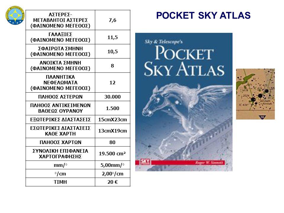 POCKET SKY ATLAS ΑΣΤΕΡΕΣ- ΜΕΤΑΒΛΗΤΟΙ ΑΣΤΕΡΕΣ (ΦΑΙΝΟΜΕΝΟ ΜΕΓΕΘΟΣ) 7,6 ΓΑΛΑΞΙΕΣ (ΦΑΙΝΟΜΕΝΟ ΜΕΓΕΘΟΣ) 11,5 ΣΦΑΙΡΩΤΑ ΣΜΗΝΗ (ΦΑΙΝΟΜΕΝΟ ΜΕΓΕΘΟΣ) 10,5 ΑΝΟΙΚΤΑ ΣΜΗΝΗ (ΦΑΙΝΟΜΕΝΟ ΜΕΓΕΘΟΣ) 8 ΠΛΑΝΗΤΙΚΑ ΝΕΦΕΛΩΜΑΤΑ (ΦΑΙΝΟΜΕΝΟ ΜΕΓΕΘΟΣ) 12 ΠΛΗΘΟΣ ΑΣΤΕΡΩΝ30.000 ΠΛΗΘΟΣ ΑΝΤΙΚΕΙΜΕΝΩΝ ΒΑΘΕΩΣ ΟΥΡΑΝΟΥ 1.500 ΕΞΩΤΕΡΙΚΕΣ ΔΙΑΣΤΑΣΕΙΣ15cmX23cm ΕΣΩΤΕΡΙΚΕΣ ΔΙΑΣΤΑΣΕΙΣ ΚΑΘΕ ΧΑΡΤΗ 13cmX19cm ΠΛΗΘΟΣ ΧΑΡΤΩΝ80 ΣΥΝΟΛΙΚΗ ΕΠΙΦΑΝΕΙΑ ΧΑΡΤΟΓΡΑΦΗΣΗΣ 19.500 cm² mm/°5,00mm/° °/cm2,00°/cm ΤΙΜΗ20 €