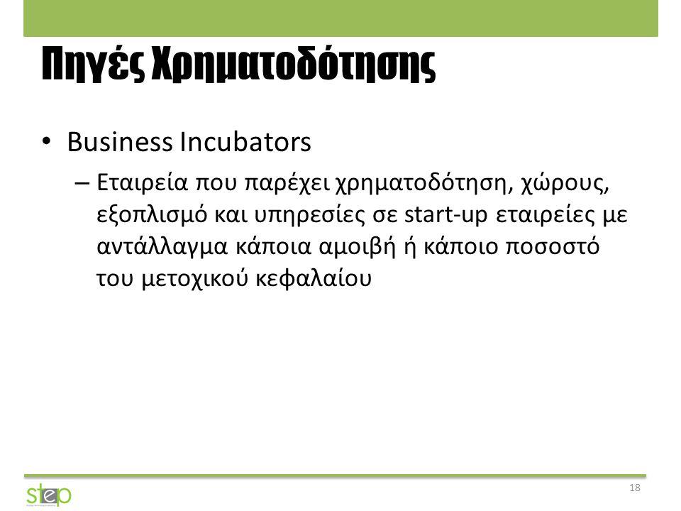 Πηγές Χρηματοδότησης Business Incubators – Εταιρεία που παρέχει χρηματοδότηση, χώρους, εξοπλισμό και υπηρεσίες σε start-up εταιρείες με αντάλλαγμα κάπ