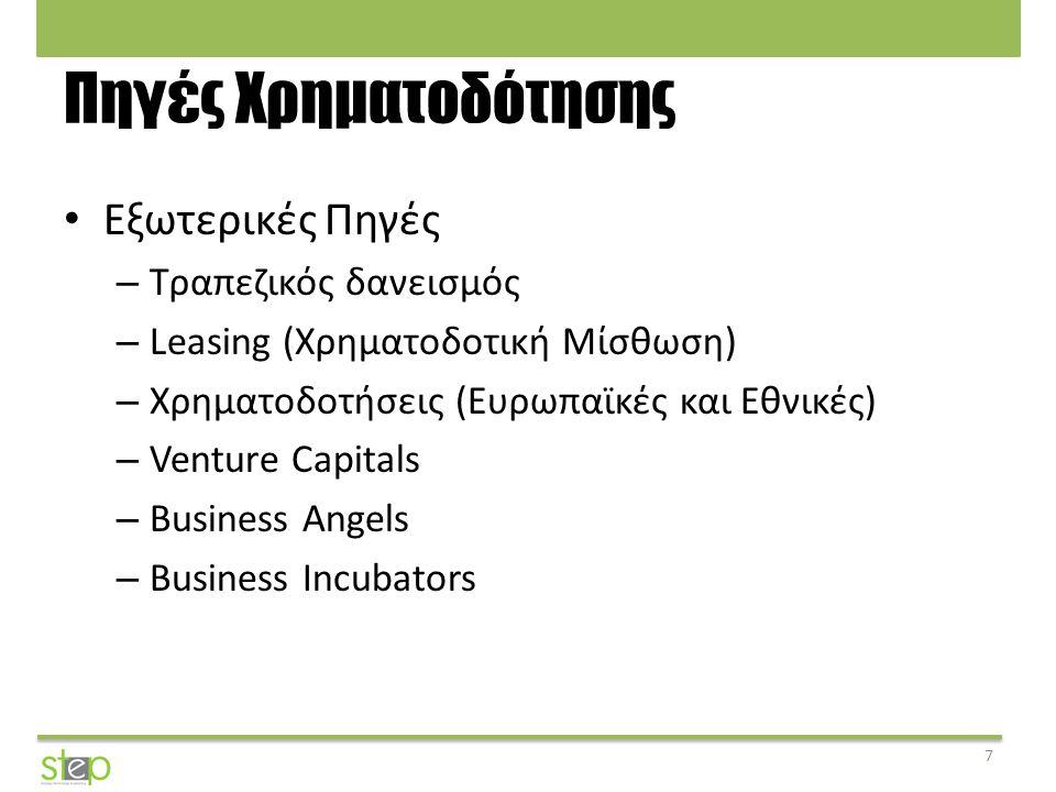 Πηγές Χρηματοδότησης Εξωτερικές Πηγές – Τραπεζικός δανεισμός – Leasing (Χρηματοδοτική Μίσθωση) – Χρηματοδοτήσεις (Ευρωπαϊκές και Εθνικές) – Venture Ca