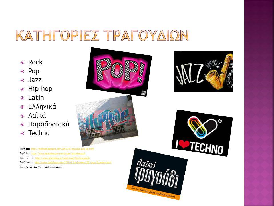  Rock  Pop  Jazz  Hip-hop  Latin  Ελληνικά  Λαϊκά  Παραδοσιακά  Techno Πηγή pop: http://vikkikidd.blogspot.com/2010/10/pop-pop-pop-up.htmlhtt