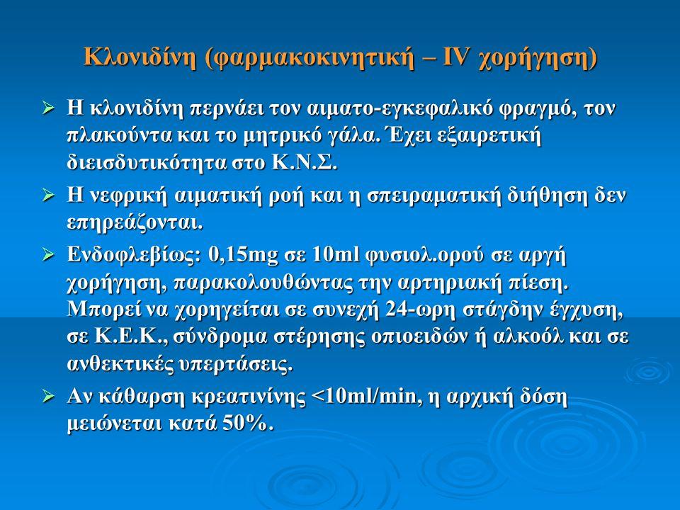 Κλονιδίνη (φαρμακοκινητική – IV χορήγηση)  Η κλονιδίνη περνάει τον αιματο-εγκεφαλικό φραγμό, τον πλακούντα και το μητρικό γάλα. Έχει εξαιρετική διεισ
