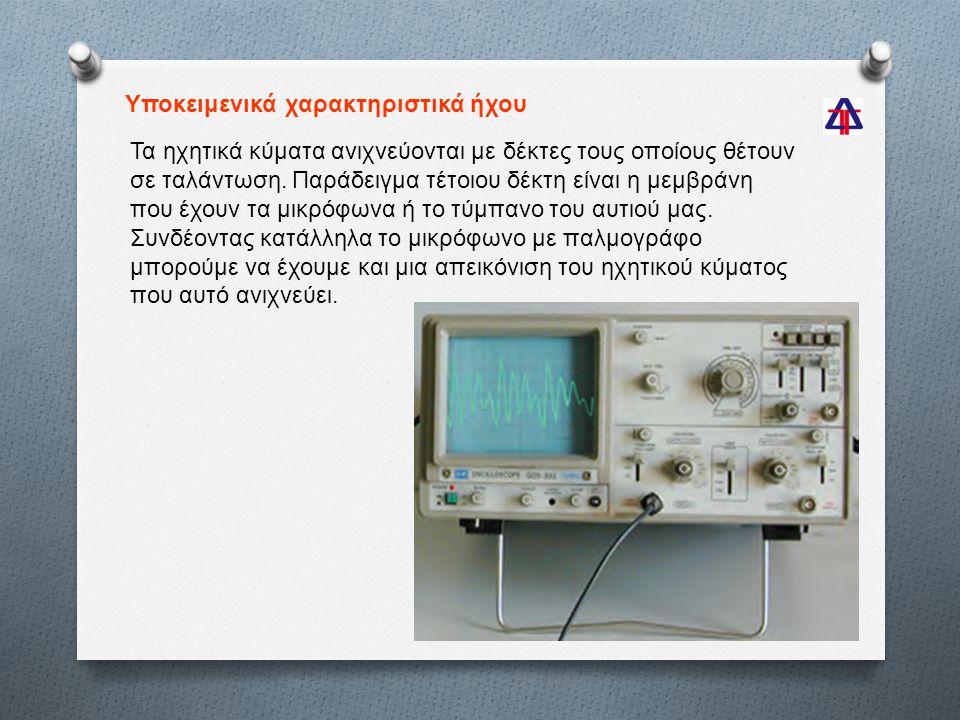 Υποκειμενικά χαρακτηριστικά ήχου Τα ηχητικά κύματα ανιχνεύονται με δέκτες τους οποίους θέτουν σε ταλάντωση.