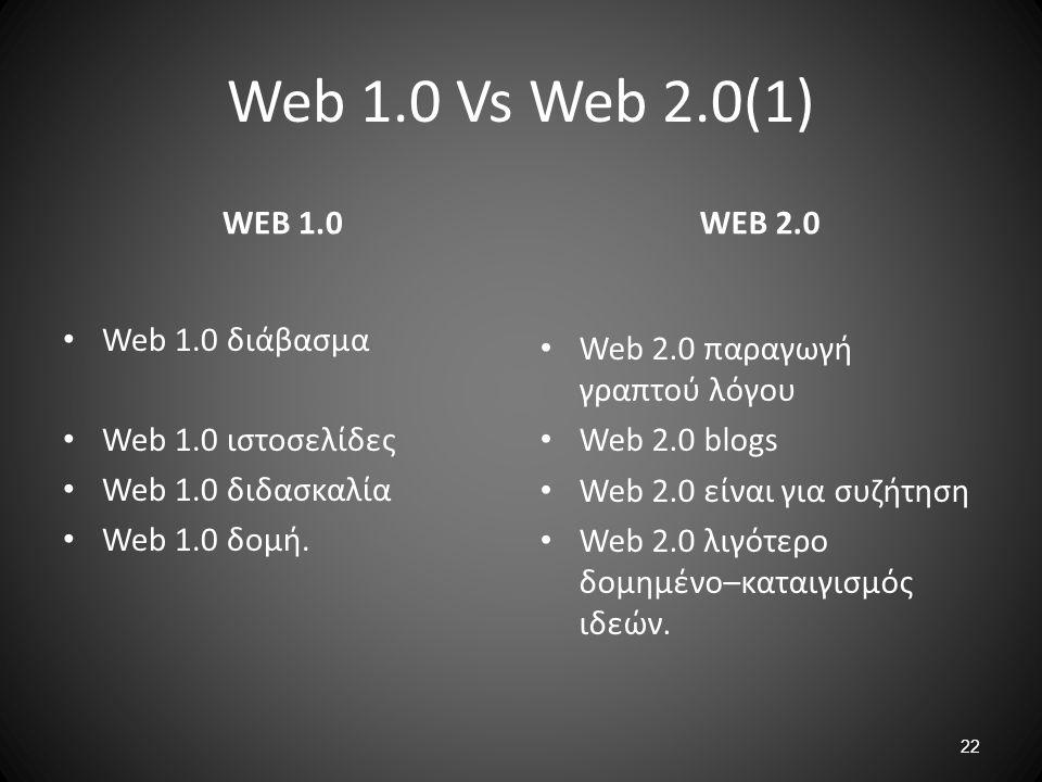 22 Web 1.0 Vs Web 2.0(1) WEB 1.0 Web 1.0 διάβασμα Web 1.0 ιστοσελίδες Web 1.0 διδασκαλία Web 1.0 δομή. WEB 2.0 Web 2.0 παραγωγή γραπτού λόγου Web 2.0