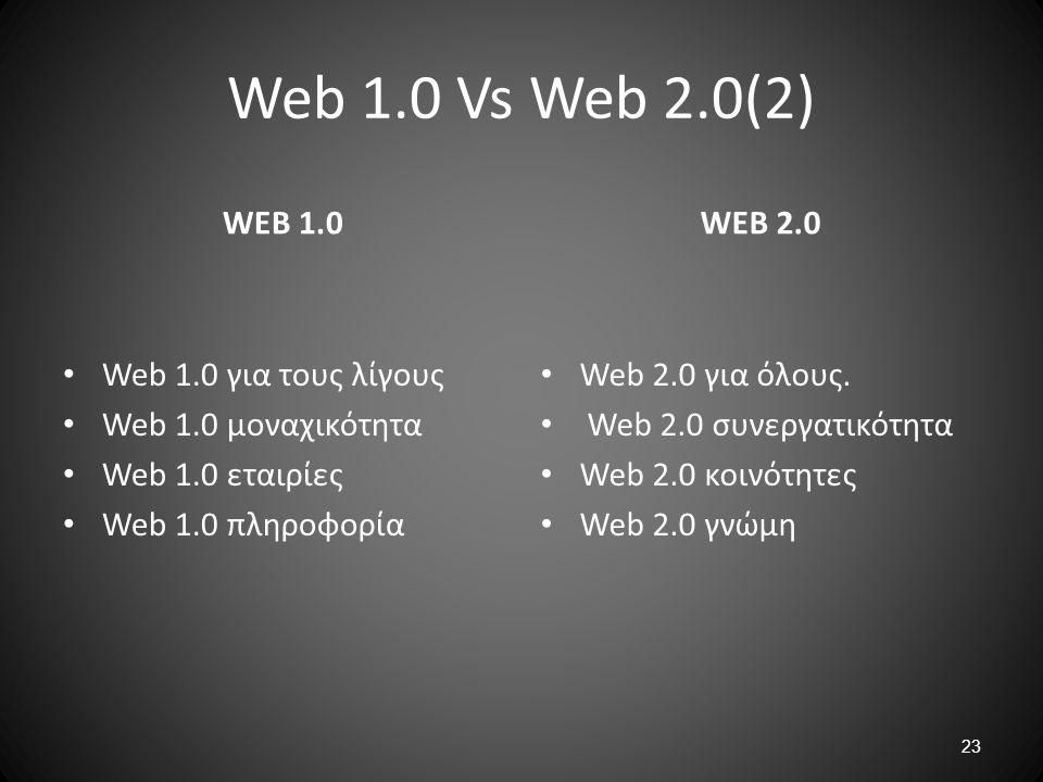 23 Web 1.0 Vs Web 2.0(2) WEB 1.0 Web 1.0 για τους λίγους Web 1.0 μοναχικότητα Web 1.0 εταιρίες Web 1.0 πληροφορία WEB 2.0 Web 2.0 για όλους. Web 2.0 σ
