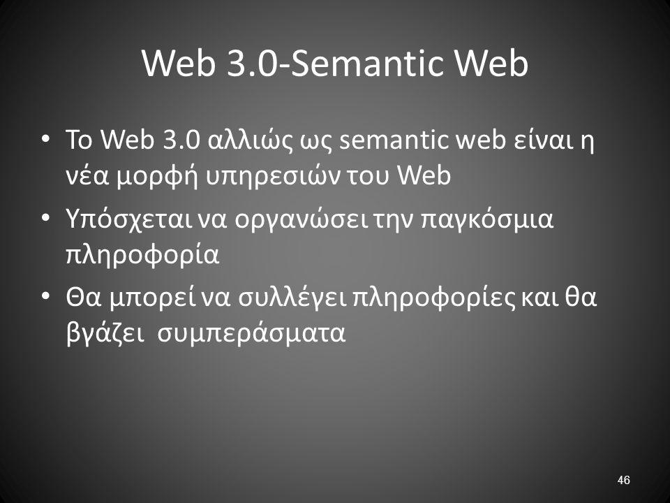 46 Web 3.0-Semantic Web Το Web 3.0 αλλιώς ως semantic web είναι η νέα μορφή υπηρεσιών του Web Υπόσχεται να οργανώσει την παγκόσμια πληροφορία Θα μπορε